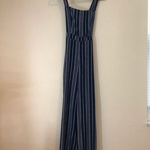 Navy Blue and White Stripe Jumpsuit